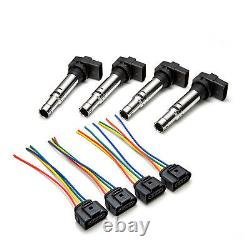 4x Ignition Coil Packs + Wiring Harness Looms Fits VW Golf (Mk5) 1.6