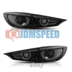 SMOKE LED Tail Lights with Sequential Turn Sig. Fits For Mazda 3 Sedan 2014 2018
